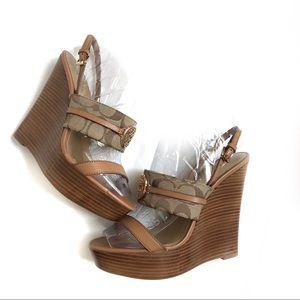 Coach Beatriz Brown Wedge Sandals
